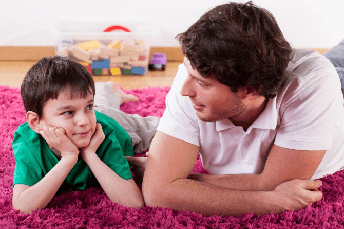 child gender influences paternal behavior language and brain function