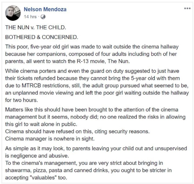 nelsonmendoza 5 year old girl left alone outside the cinema while parents watched 'The Nun'