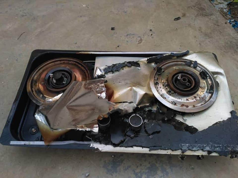 gas stove explodes