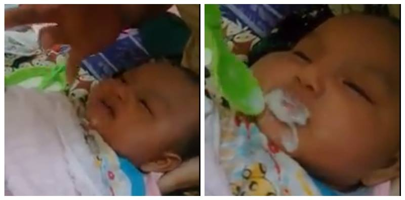 Parents feed their newborn baby porridge, netizens angered