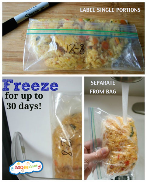 1. Freeze individual portions of rice.