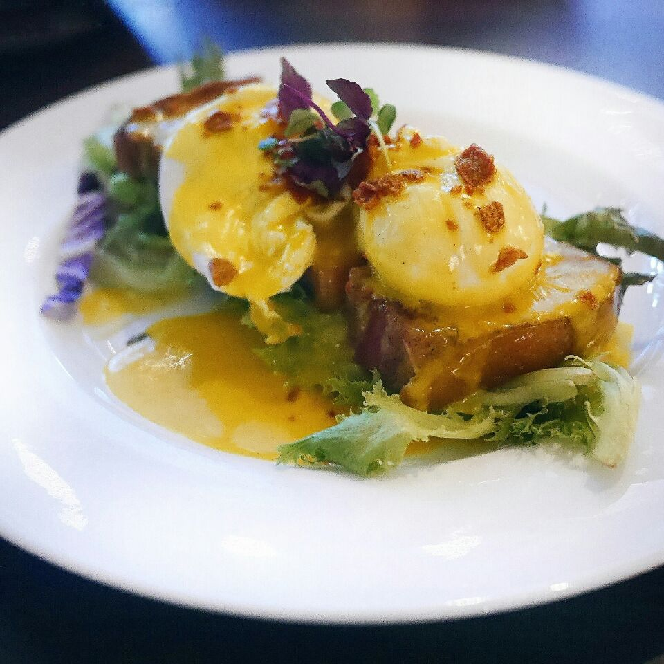 Salted Egg Eggs Benedict @ Froth Café