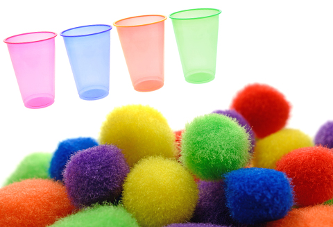 3.Pom poms and cups