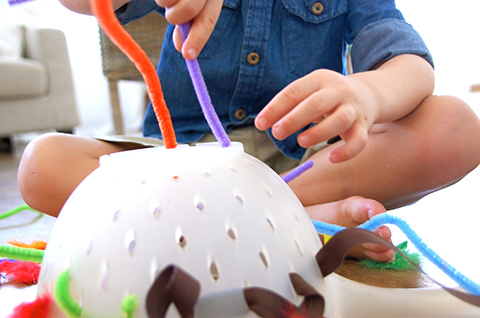 6. Pipe cleaners and a colander