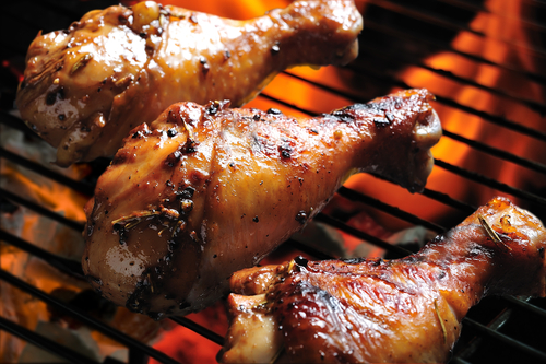 Grilled chicken drumstick with pineapple marinade