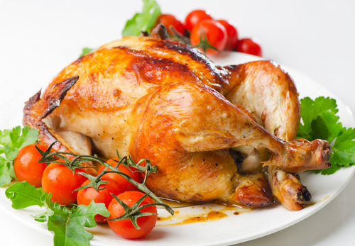 Roast chicken with tomatoes