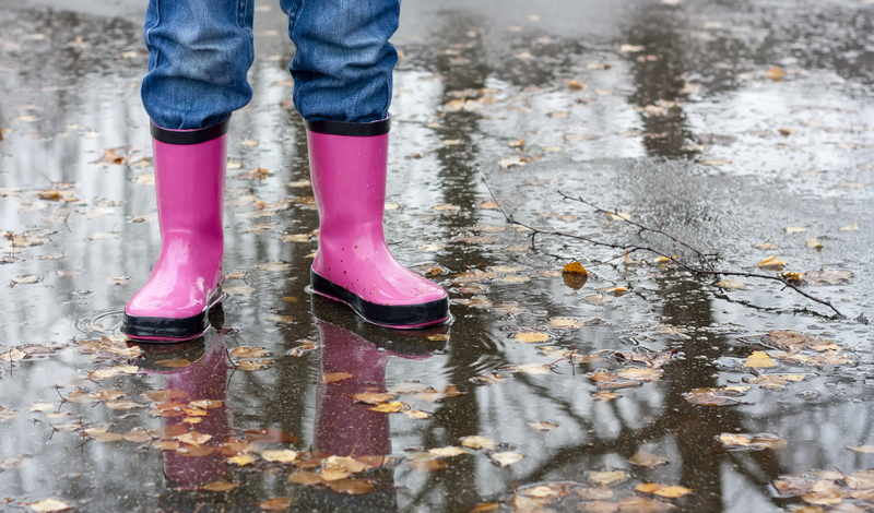 Rain boots or water-resistant plastic shoes