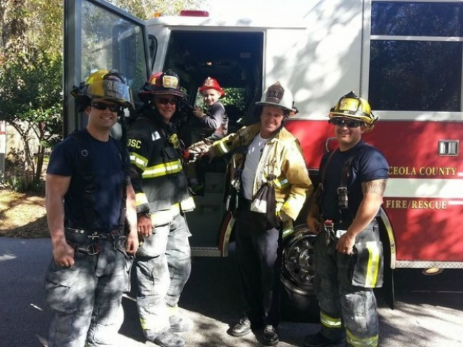 Glenn was made an honorary firefighter for the day!