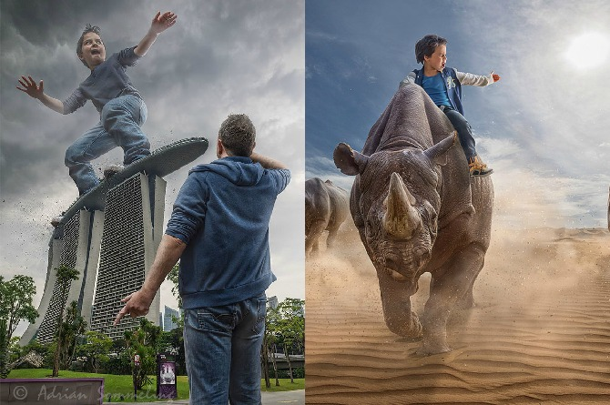 Graphic artist dad Adrian Sommeling photoshops his son into fantastic and surreal images