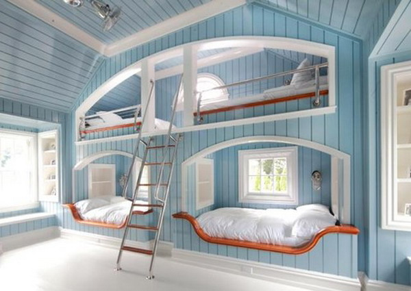 Bunk beds with windows