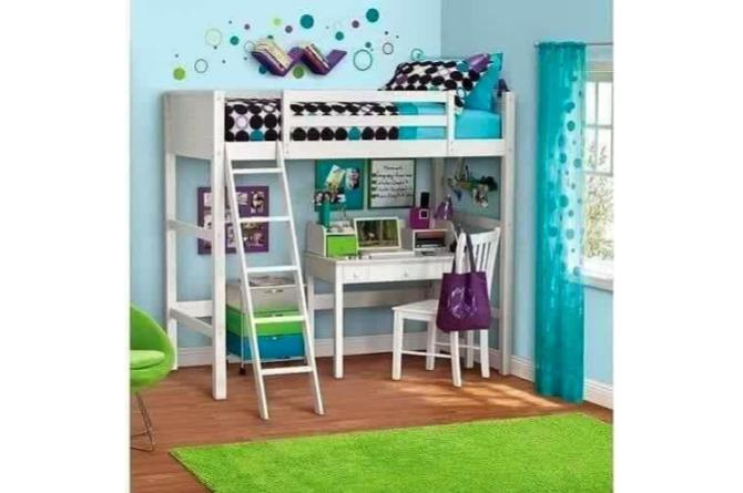 2. Having a loft bed above your child's desk saves a lot of space