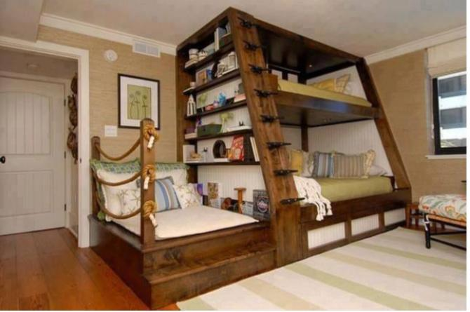 22. This double-decker bed doubles as a shelf, and also comes with a little reading nook