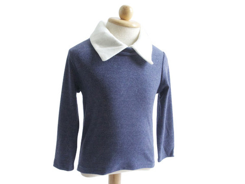 9. Blue sweater with white collar
