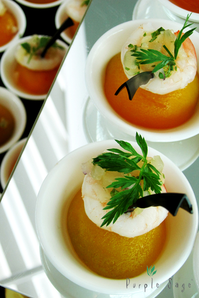 Apricot with Poached Prawn and Pear Salsa
