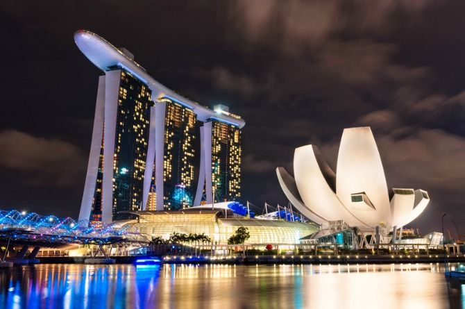 Watch the fireworks at Marina Bay Sands