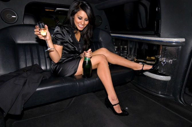 Party on the move in a luxury limousine