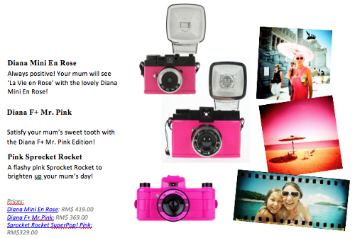 10) Hot pink cameras for mum
