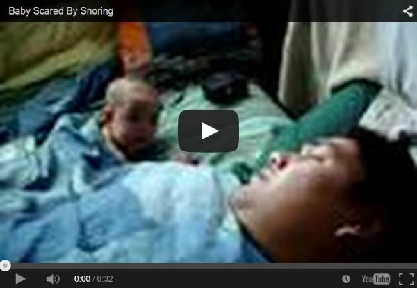 Baby scared by dad's snoring - Watch this funny video