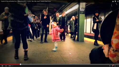 Little girl dances in train station and starts a dance party - Watch this!