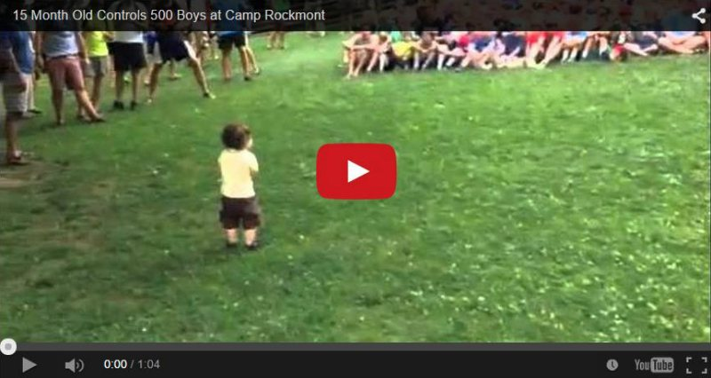 Toddler leads crowd in a cheer - Adorable video!