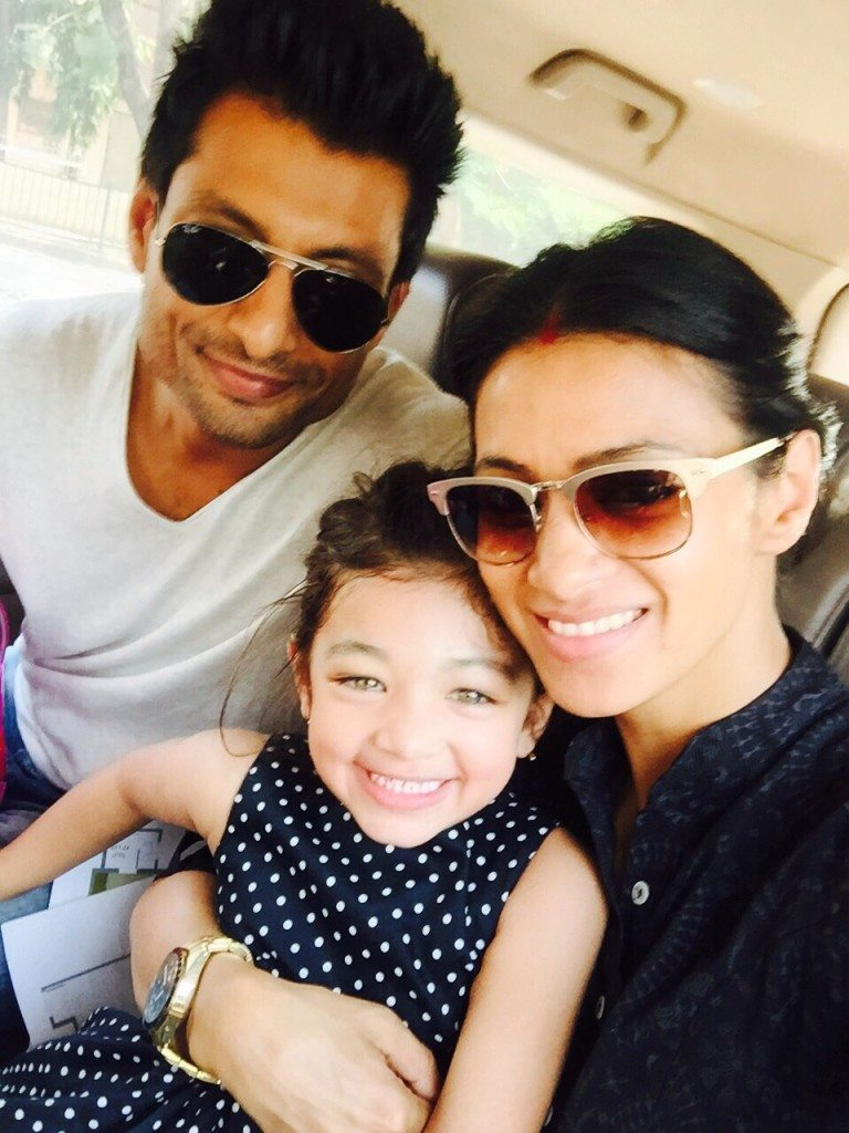 Actor Barkha Bisht with husband Indraneil and daughter Meira