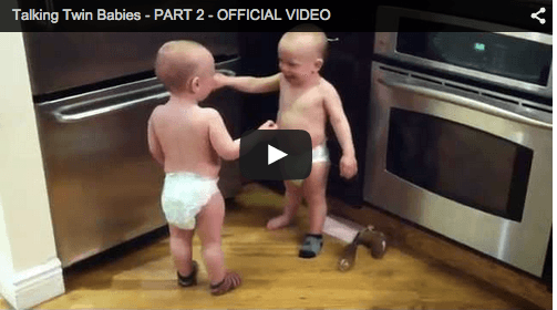 Funny baby video of adorable twins conversing in 'Twinese'