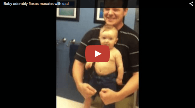 Funny baby video: Baby flexes muscles