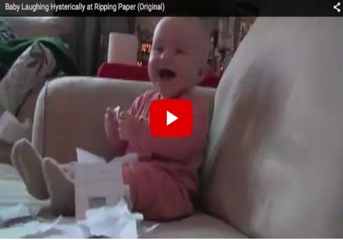 Baby laughs hysterically at ripping paper