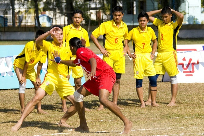 boys playing kabaddi