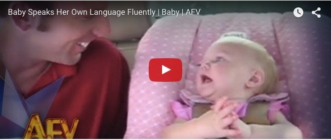 Six-month-old invents her own language: Funny baby video