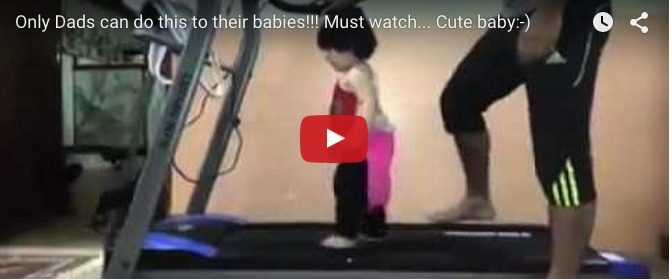 Her first time on a treadmill: Cute baby video