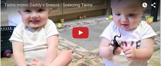 They try to mimic daddy's sneezing: Cute baby video