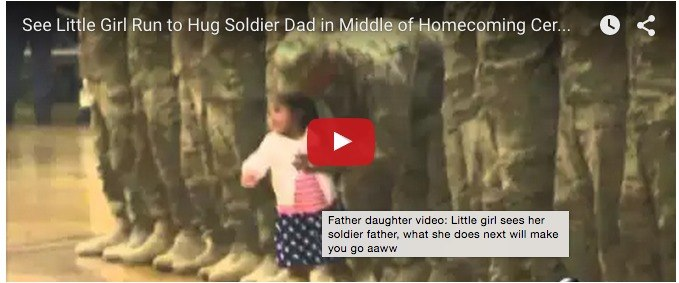 Video of little girl hugging her soldier father at a ceremony goes viral