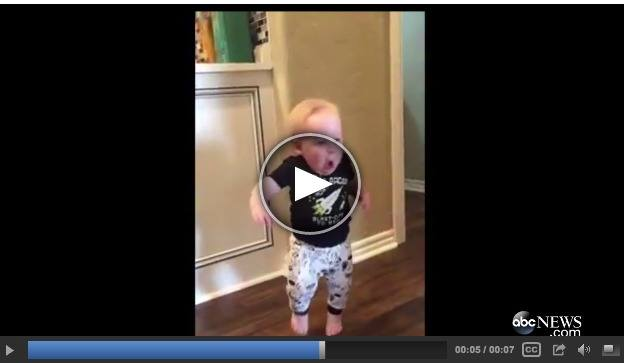 Baby gets scared as grandpa roars! Hilarious