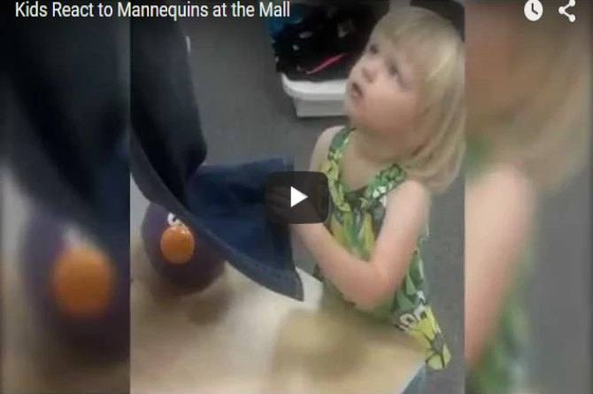 Kids react funnily to mannequins at the mall