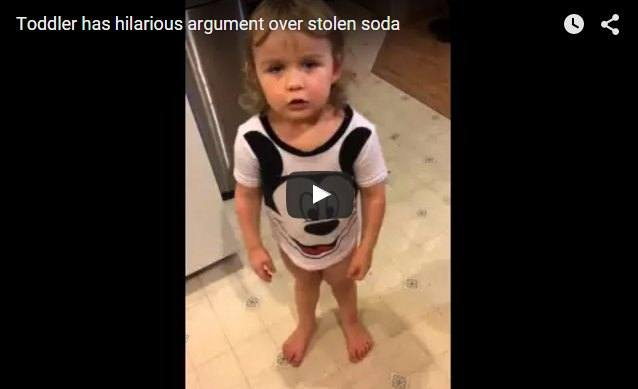Cute toddler has hilarious argument over stolen soda
