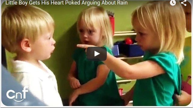 Little boy gets his 'heart poked' while arguing with girls