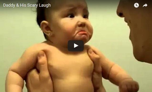 This baby's expression is priceless when she hears daddy's scary laugh