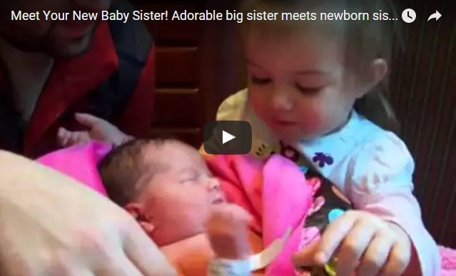Girl meets her newborn sister and she just can't get over the baby