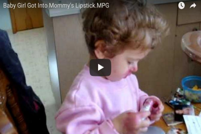 What happens when a cute little girl gets hold of mom's lipstick