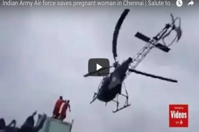Chennai floods: Indian Air Force rescues pregnant woman in daredevil operation
