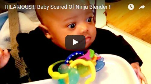 Mum starts the blender and this baby's expressions are hilarious