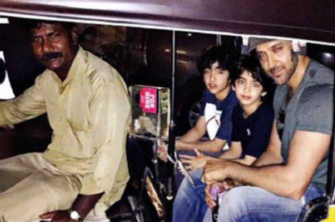 Hrithik Roshan takes sons for an outing in 'aam aadmi' style