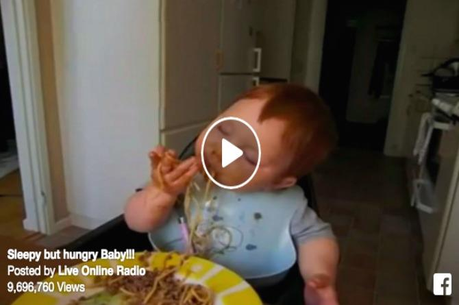 Hungry or sleepy - This baby just can't seem to make up his mind