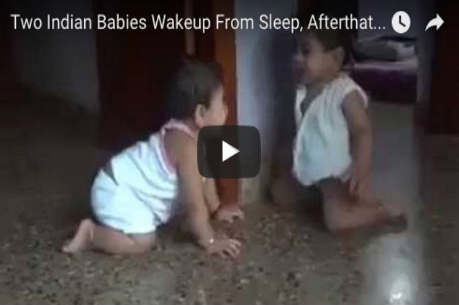 Must watch: Adorable Indian twins wake up and playfully start kissing each other