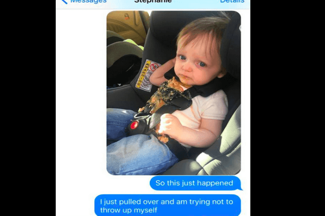 Hilarious texts of panicked dad cleaning up his kid's vomit go viral