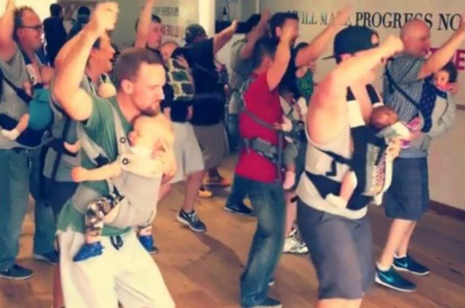 Adorable dancing Babywearing dads become internet stars