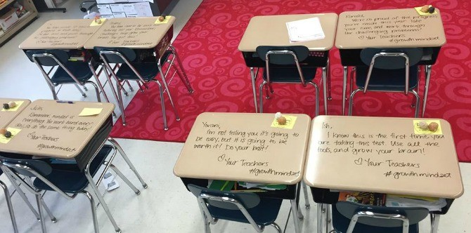 Find out why this teacher wrote on her students' desks