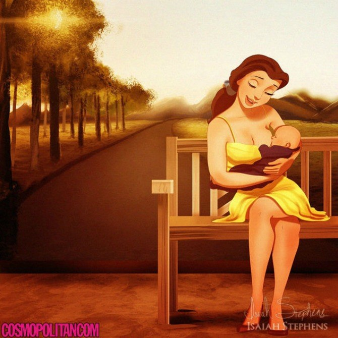 So cute! This is how famous Disney princesses would look as new and expecting parents