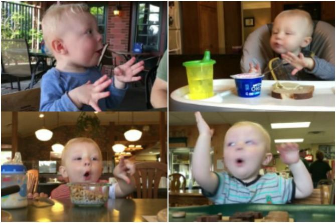 This cute little baby has the most wonderful reaction to food